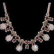 Sterling Silver | Garnet & Rainbow Moonstone Festoon Necklace