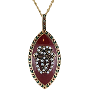 9K | Enamel and Seed Pearl Pendant | 16-Inch 9K Chain