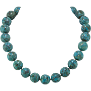 16mm Turquoise Composite Bead Necklace | Sterling Silver