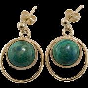 14K Yellow Gold | Azure-Malachite Earrings