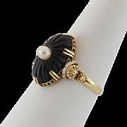 Heirloom Quality | Art Deco | 14K Yellow Gold | Black Onyx, Enamel, & Pearl Ring | Size 6-1/2