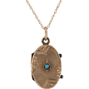Antique 12K Rose Gold | Victorian Locket with Blue Turquoise Bead