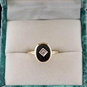 14K Gold Art Deco Black Onyx and Diamond Ring Size 6-1/2