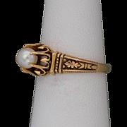 Antique | 14K Rose Gold | Cultured Pearl Ring