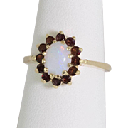 14K Gold | Opal & Garnet Ring | Size 7