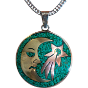 Vintage Mexico | Mixed Metals | Crescent Man in the Moon | Pendant