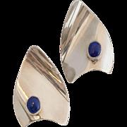 Handmade   Modernist   Sterling Silver & Lapis Lazuli Earrings