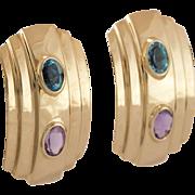 14K Yellow Gold   Amethyst & Blue Topaz Earrings