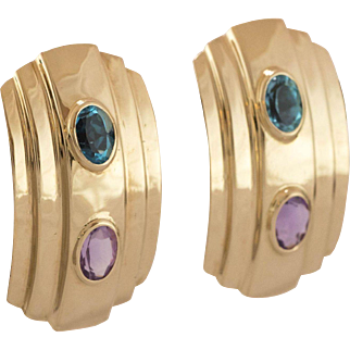 14K Yellow Gold | Amethyst & Blue Topaz Earrings