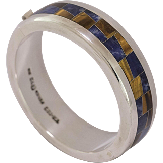 90.1 Grams | 950 Silver | Lapis and Tiger's Eye Inlay | Hinged Bangle/ Bracelet