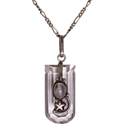 Sterling Silver Rock Crystal & Cat's Eye Moonstone Pendant | 24-Inch Paperclip Chain