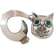 Sterling Silver | Green-Eyed Cat