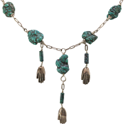 Sterling Silver | 21-1/2 Inch Natural Turquoise Nugget Necklace