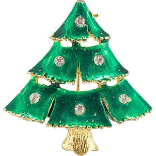 Enamel Christmas Tree Pin with Crystals