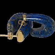 14K Yellow Gold | Lapis Lazuli C-Hoop Earrings