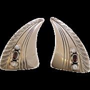 Sterling Silver   Garnet & Moonstone Earrings