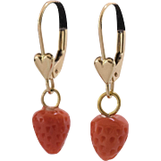 14K Yellow Gold | Natural Coral | Carved Strawberry Earrings