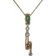 14K Yellow Gold | Nephrite Jade & Diamond Pendant with Chain