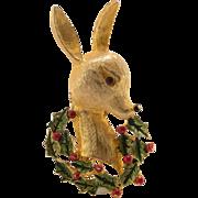 Enamel Reindeer Brooch | Gold Tone |