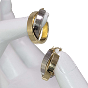 14K 2-Tone Gold   Double Hoop Earrings
