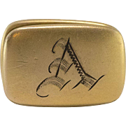 "Antique  | Gold Filled | Monogrammed ""A"" Clip"