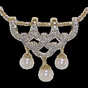 14K Yellow Gold   Diamond & Pearl Slide/Pendant