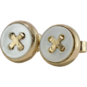 14K Yellow Gold | Mother of Pearl | Button Earrings