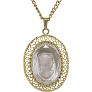 Whiting and Davis | Glass Intaglio Cameo Pendant with Chain