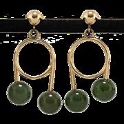 14K Nephrite Jade Earrings