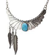Signed H. Spencer | Navajo | Sterling Silver & Turquoise | Bib & Feather Necklace