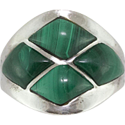 Sterling Silver | Malachite Ring | Size 10
