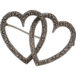 Vintage | Sterling Silver | Double Heart Pin