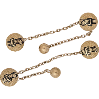 Dated 1868 | Victorian | 14K Taille D'Epargne Collar Buttons with Locking Chain