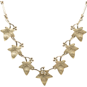 17.2 Grams | 14K Yellow Gold | Italian | Grape Leaf Motif Necklace