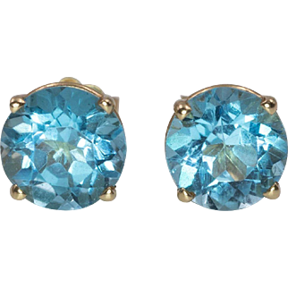 14K Yellow Gold | Blue Topaz | Basket Stud Earrings