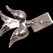Love Letter & Turtle Dove Brooch   Sterling Silver