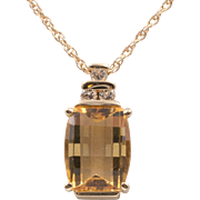 10K Yellow Gold | Checkerboard Faceted | Citrine Gemstone with Diamonds