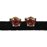 Vintage | 14K Yellow Gold | Garnet Gemstone | Stud Earrings