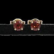 14K Yellow Gold | 4mm Garnet Gemstone | Stud Earrings