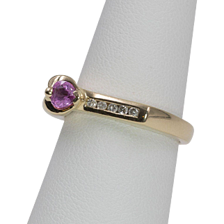 14K Yellow Gold | Pink Sapphire & Diamond Ring | Size 7-1/4
