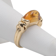 14K Yellow Gold | Citrine | Dome Cut Ring