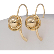 14K Yellow Gold | Spiral & Bead Lever Back Earrings