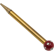 1950s | Ladies Mechanical Pencil | Rhinestone & Celluloid Topper
