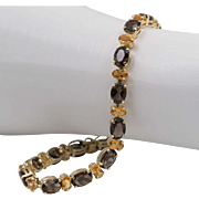Beautiful 14K Yellow Gold | Natural Smoky Quartz & Natural Citrine | Line Bracelet  7-5/8 Inches