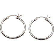 Sterling Silver | Highly Polished | 1-Inch Hoop Earrings