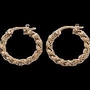 10K Yellow Gold | Textured | 1-Inch Hoop Earrings