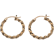 10K Yellow Gold | Textured | 1-Inch Hoop Earrings