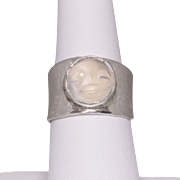 Sterling Silver | Handmade Moonstone | Man in the Moon Ring