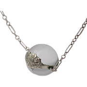 Antique Pools of Light | Floral Band Pendant | 16-1/2 Inch Antique Silver Chain