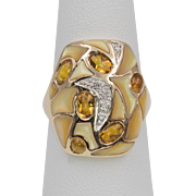 Le Vian | 14K Gold | Diamond, Citrine Mosaic Style Mother of Pearl Vintage Ring Size 7